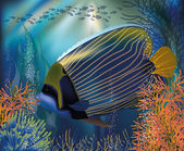 Underwater tropical world wallpaper, vector illustration