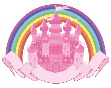 Fairy Tale  magic castle and rainbow, vector illustration