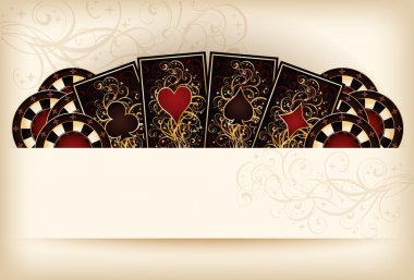 Casino wallpaper with poker elements, vector