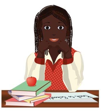 Back to School. Little  schoolgirl with apple, vector illustration