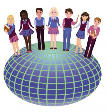 Back to school. Little school friends and globe, vector illustration