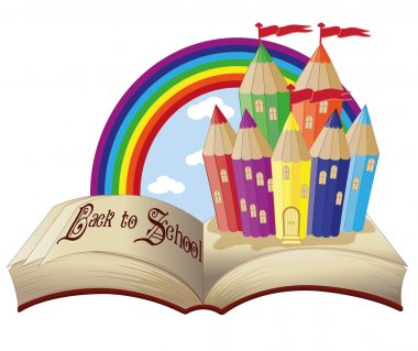 Back to School. Magic book and fabulous school castle, vector illustration