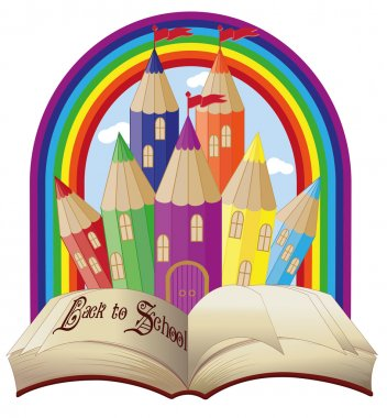 Back to school. Elegant magical fairy tale castle, vector illustration
