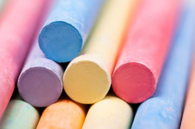 chalks pieces coloful