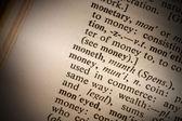 closeup slovo peníze