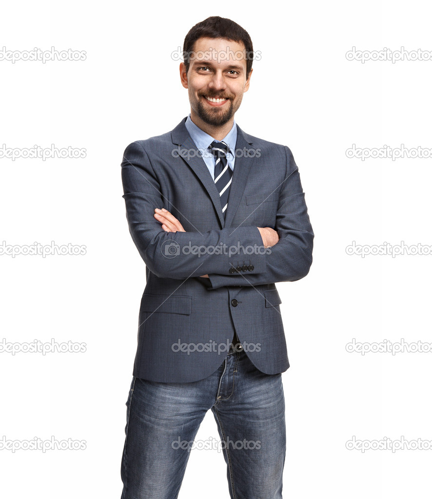 Friendly And Smiling Businessman With Arms Crossed Isolated