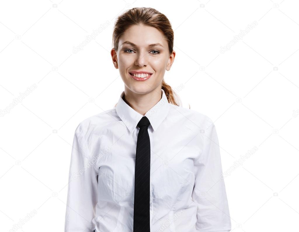 Femme En Cravate femme en chemise blanche et cravate — photographie romarioien