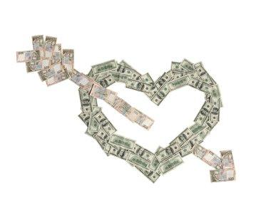 Money heart was broken by arrow of love