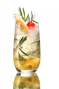 Fresh drink garnished with banana and cherry