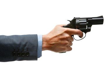 Male hand aiming revolver gun