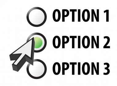 Option 1 2 or 3 selection illustration