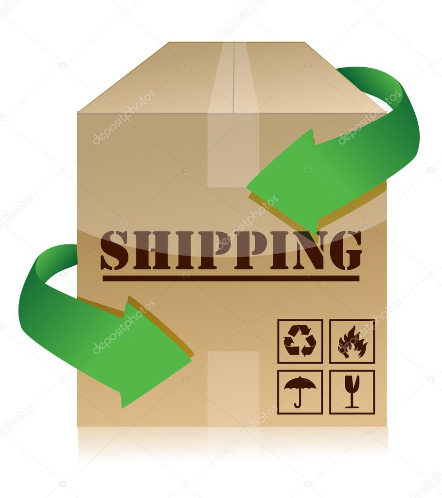 Shipping box with green arrows illustration