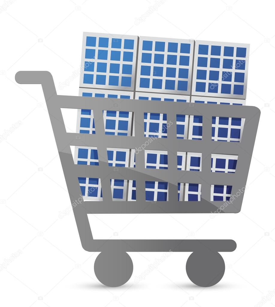 shopping cart and solar panel