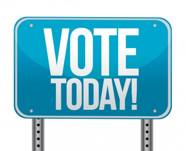 Vote today blue sign