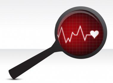 Heart checkup, magnifying glass