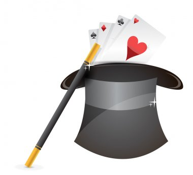 Glossy magic hat, wand and cards