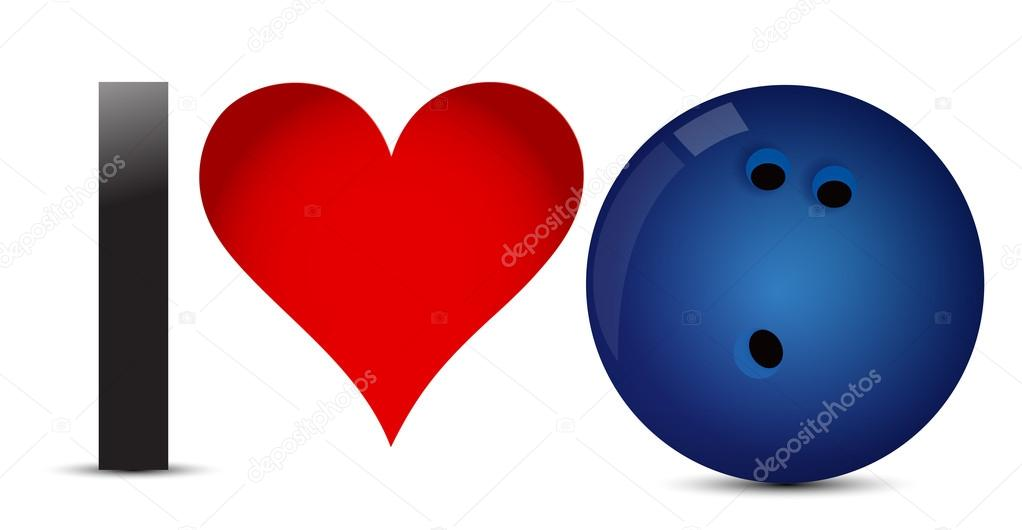 I love Bowling, Heart with Bowling Ball Inside — Stock ...