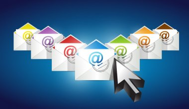 Checking emails. set of envelopes with email