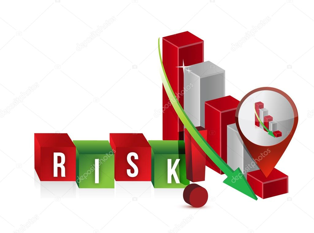 Down risk graph illustration design over a white background