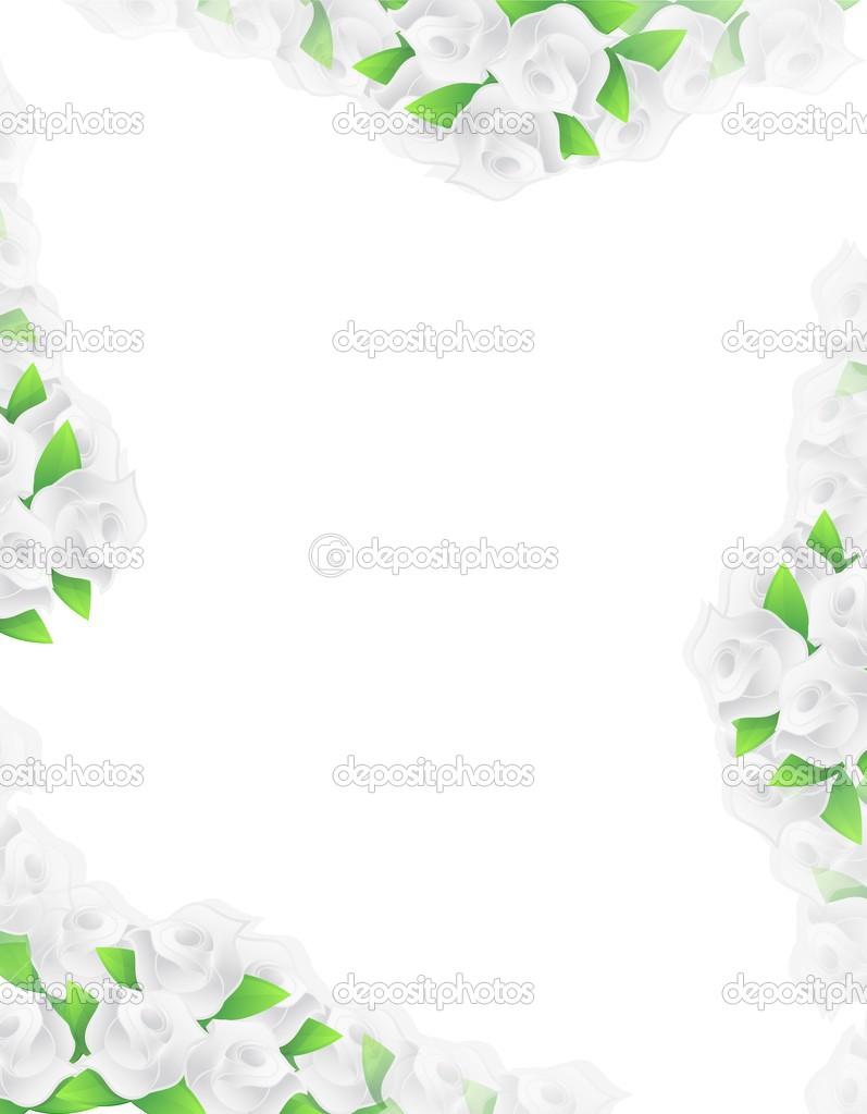 White Flowers Frame Illustration Designs Stock Photo Alexmillos