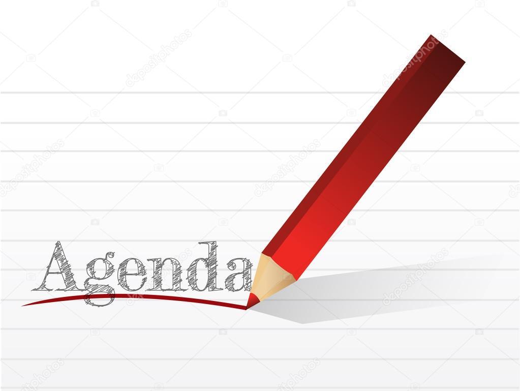 la agenda de la palabra de la escritura de lápiz. Ilustración — Foto ...
