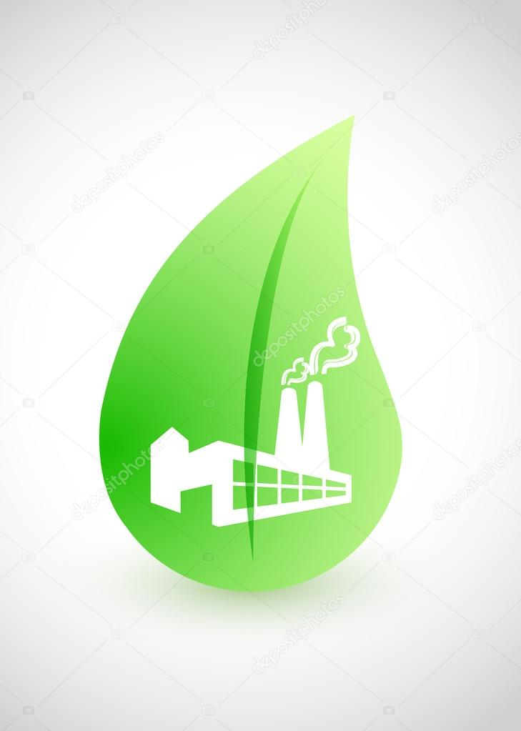 green factory - environmental conception with leaf