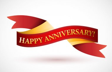 happy anniversary red waving ribbon banner