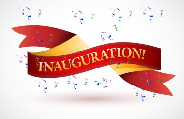 inauguration red waving ribbon banner