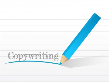Copywriting word on a white notepad paper