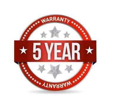 five year warranty seal illustration design
