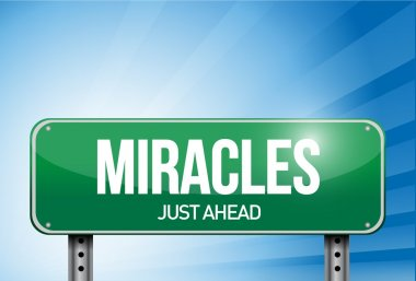 miracles road sign illustration design over a sky