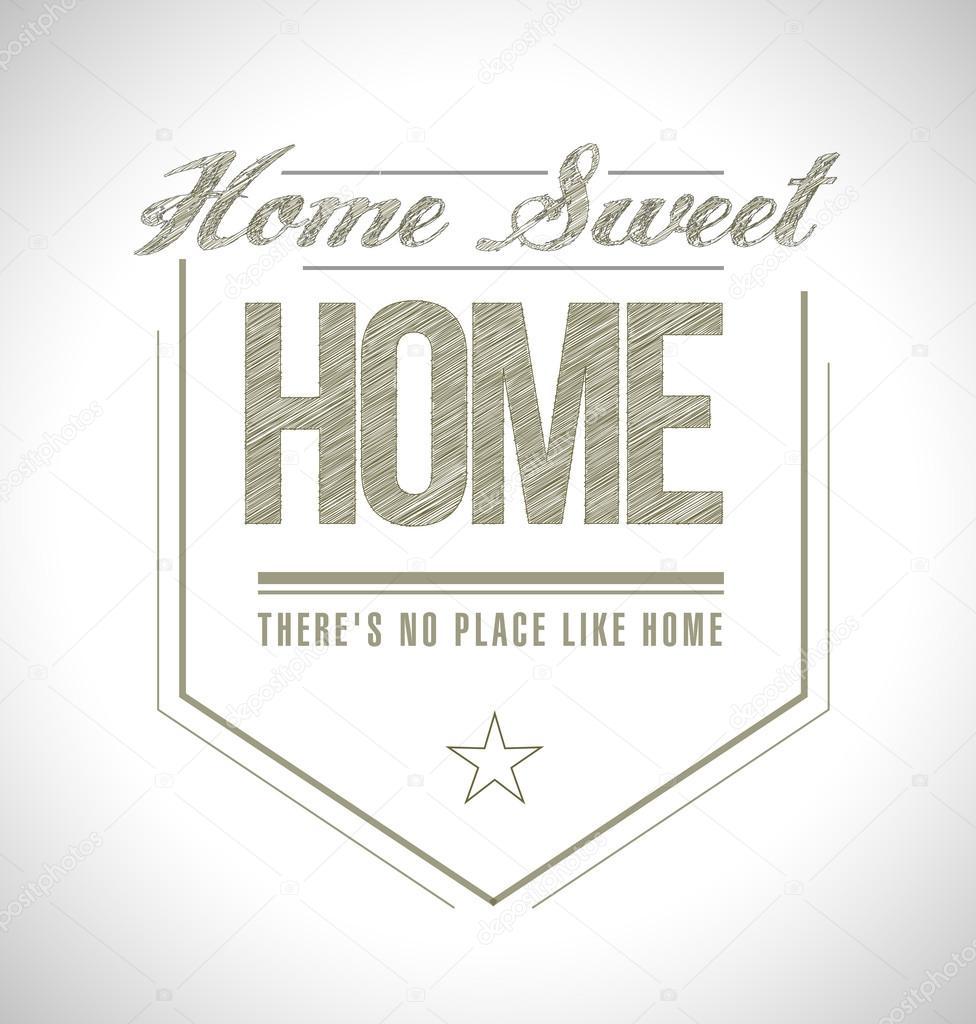 Home sweet home seal illustration design