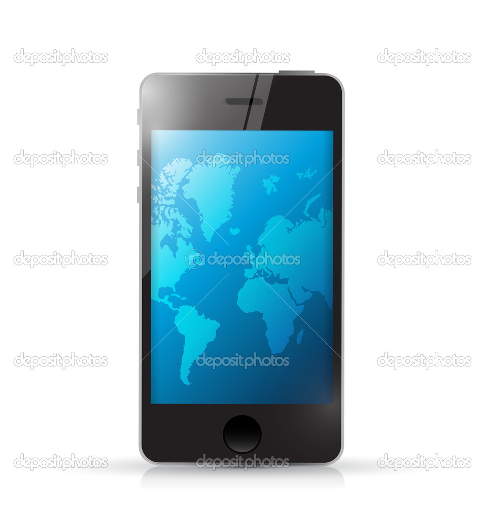 Phone with a world map illustration design stock photo phone with a world map illustration design stock photo gumiabroncs Images
