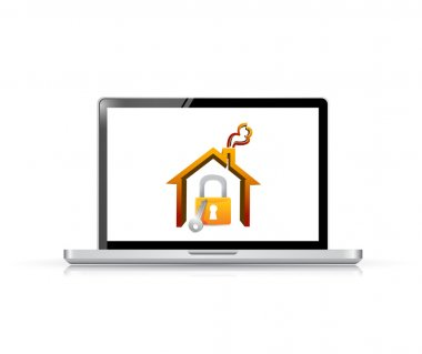 laptop and home security illustration