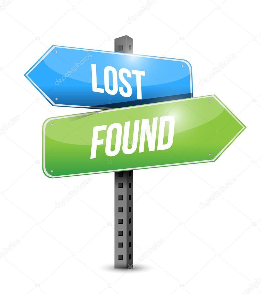 lost and found road sign illustration design stock photo