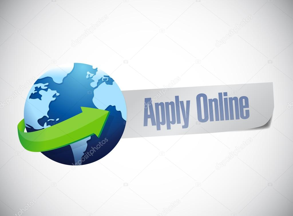 Apply online globe world map illustration design stock photo apply online globe world map illustration design over a blue background photo by alexmillos gumiabroncs Gallery