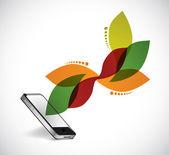smartphone and leave design illustration