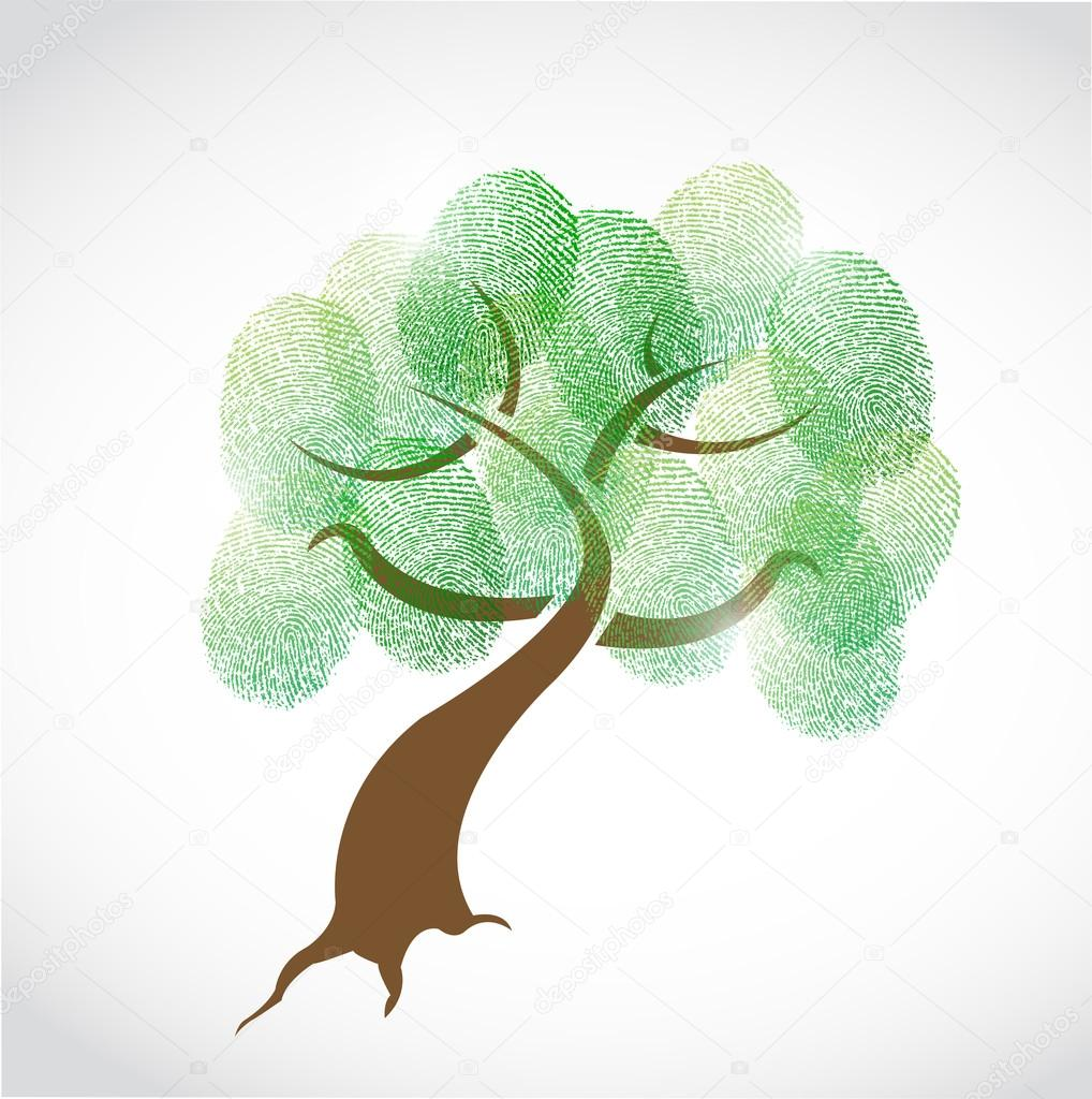 family tree fingerprint illustration design