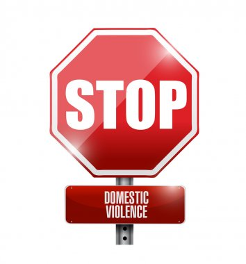 stop domestic violence road sign illustration