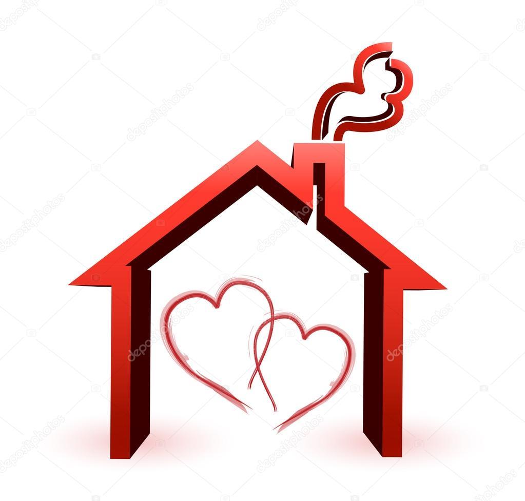 부부 사랑의 집 일러스트 디자인 컨셉 — 스톡 사진 © alexmillos ...