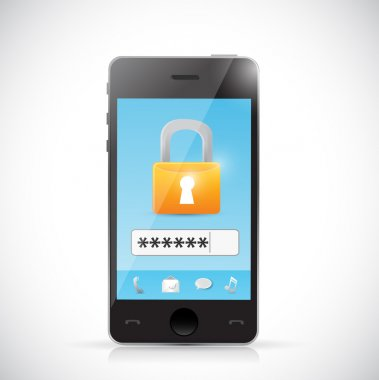 phone secure login protection concept illustration