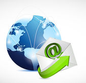 elektronikus levél boríték globe hálózat. ábrán látható tervezési
