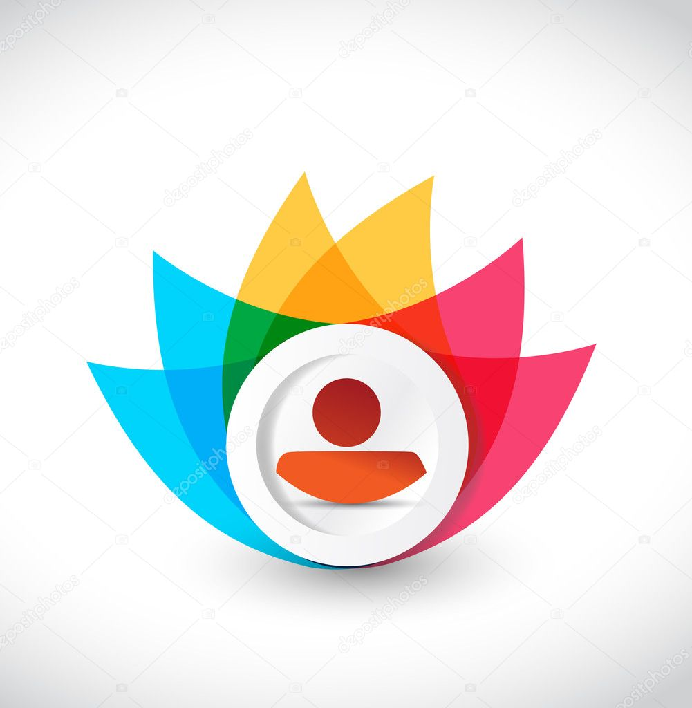 color avatar icon flower illustration design