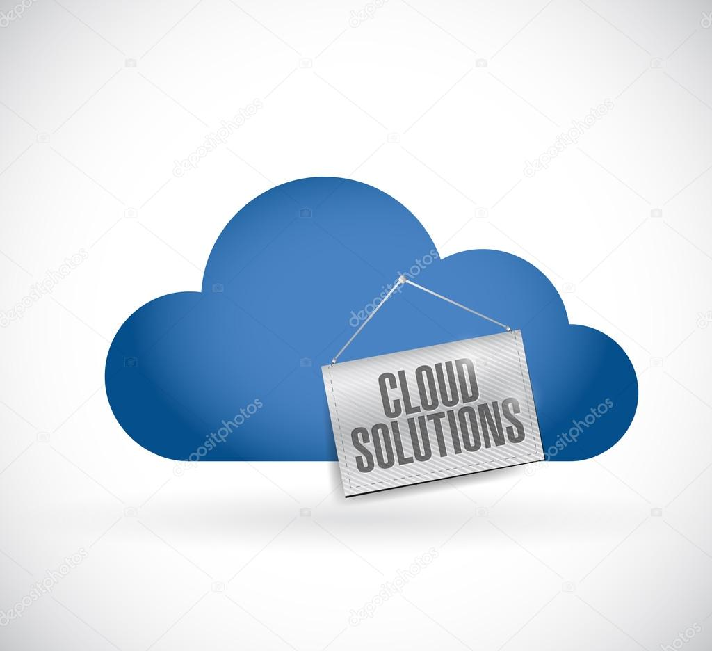 Cloud computing, cloud solutions hanging banner — Stock Photo