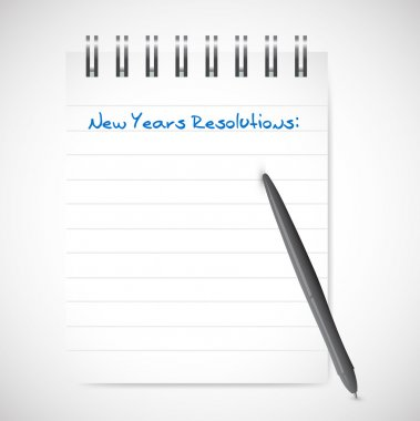 new years resolutions notepad list illustration