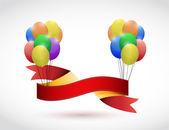 Černá stuha a balónky ilustrace design
