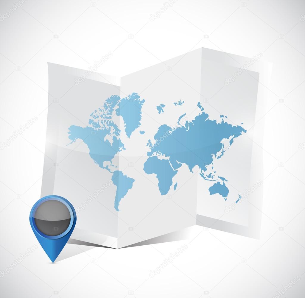 tri fold world map and pointer illustration design stock photo