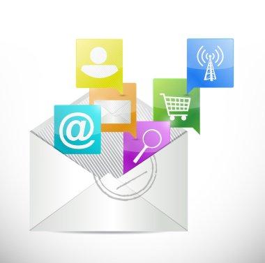 envelope and apps inside. illustration design