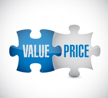 value and price puzzle pieces illustration design