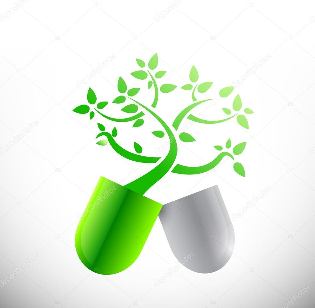 natural eco pills illustration design